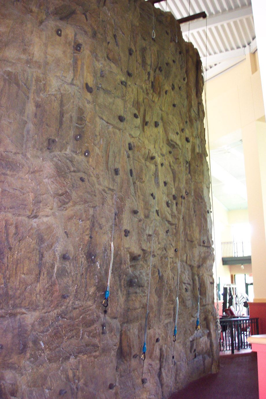 A view of the rock climbing wall in the Recreation Center.