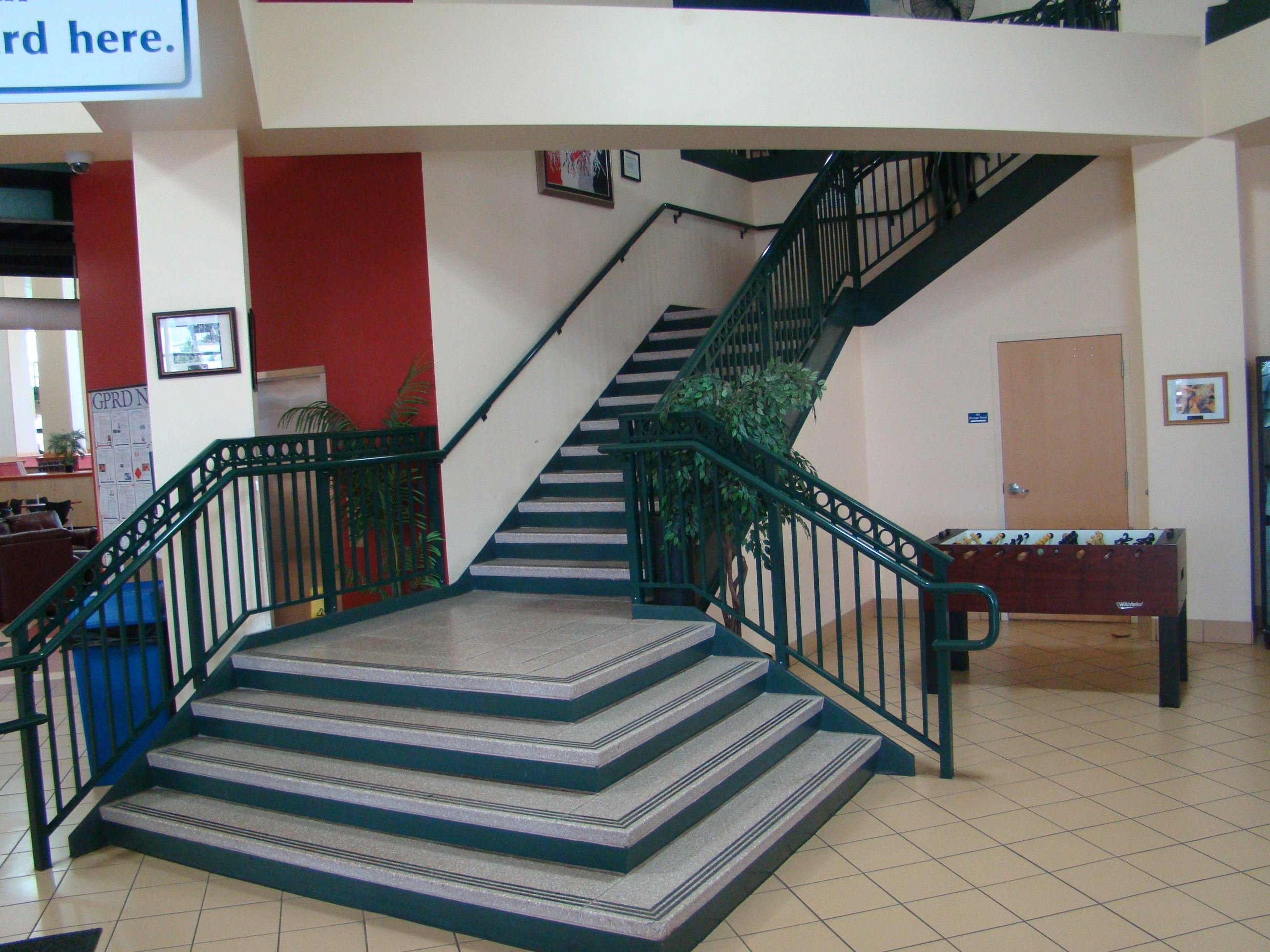 A staircase leading to the second floor of the Recreation Center.